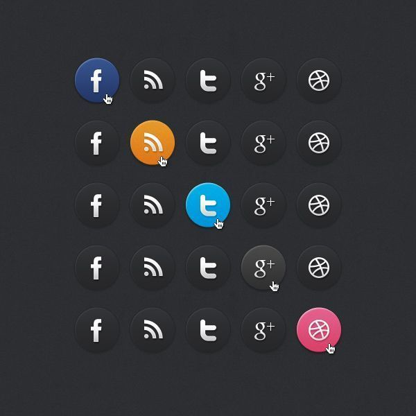 Бесплатные темные иконки социальных сетей