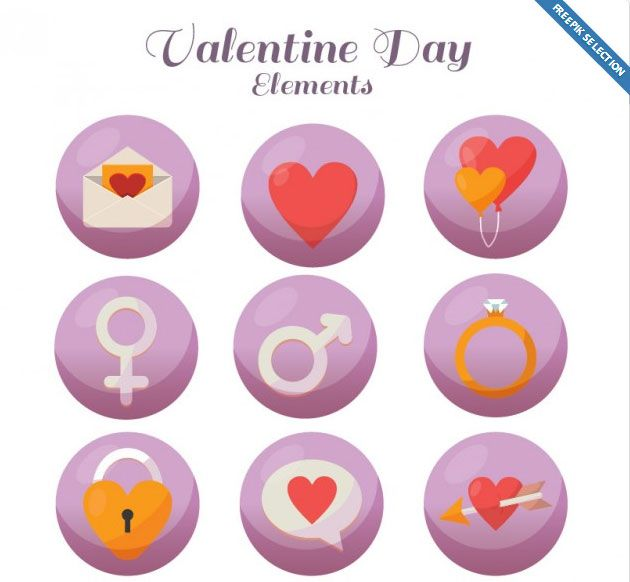 Valentine day icons Free Vector