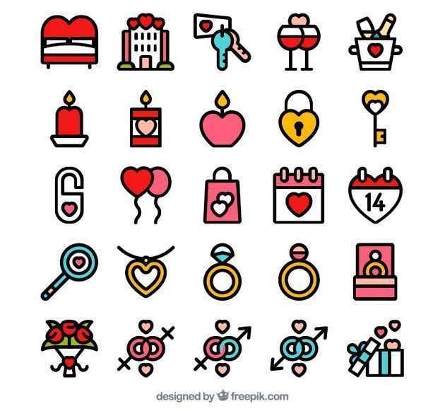 Valentine day icon set Free Vector