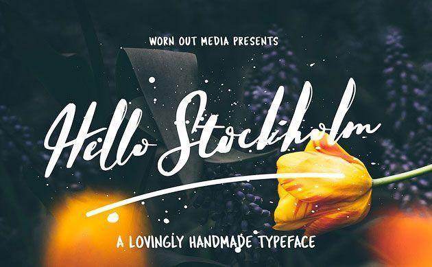 Hello Stockholm — стильный и стремительный бесплатный рукописный шрифт